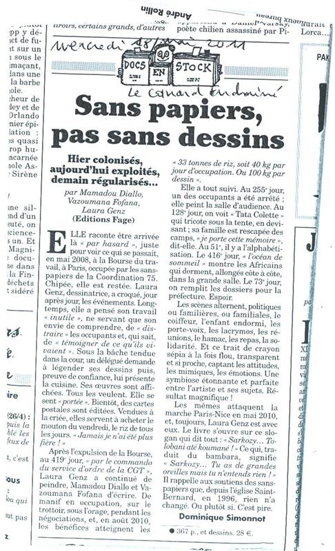 Dominique Simonnot, Sans Papiers, pas sans dessins, Canard enchaîné du 18 mai 2011.