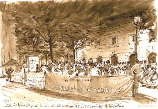 19 Sept. 2008 | La Veillée. Les Vraies Stars de la rue Charlot sont au 85! 141e jour d'occupation par les Sans Papiers. © Laura Genz