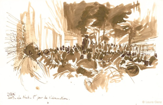 24 Juin 2009 | La Nuit. 419e jour d'occupation par les Sans Papiers. © Laura Genz