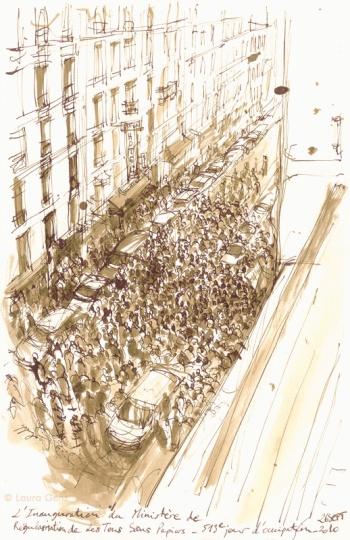 26 Sept. 2009 | L'Inauguration du Ministère de la Régularisation pour Tous. 513e jour d'occupation par les Sans Papiers. © Laura Genz