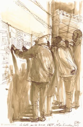 12 Déc. 2009 | La Liste des derniers OQTF. 590e jour. d'occupation par les Sans Papiers. © Laura Genz