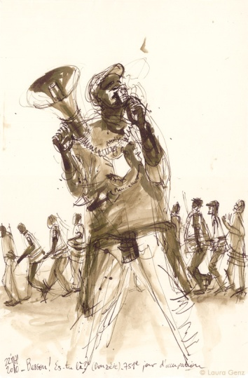 22 Mai 2010   «Besson!… Es-tu là?» (Donzère). 751e jour d'occupation par les Sans Papiers. © Laura Genz