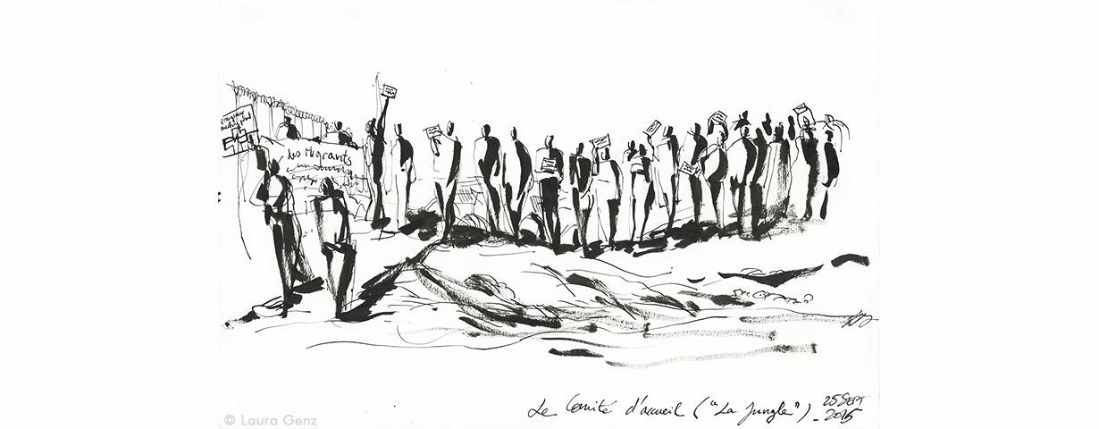 Le Comité d'accueil («La Jungle»). La CISPM à Calais, 25 septembre 2015 © Laura Genz