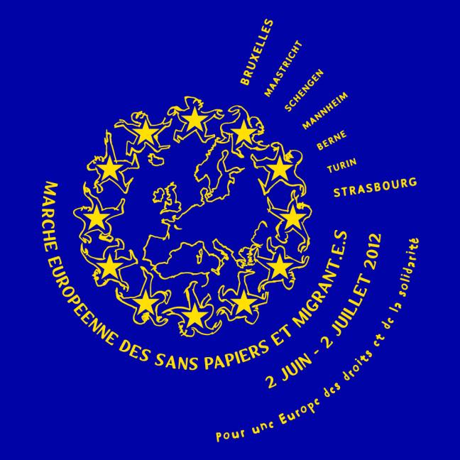 Face tee-shirt La Marche européenne des Sans Papiers et Migrant.e.s © Laura Genz