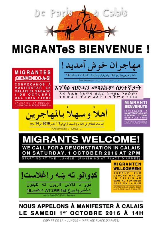Manifestation Migrant.e.s Bienvenue Calais 1er octobre 2016 © Laura Genz