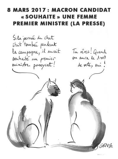 8 mars 2017: Macron «candidat» souhaite une femme premier ministre (la presse). © Laura Genz 09/03/17