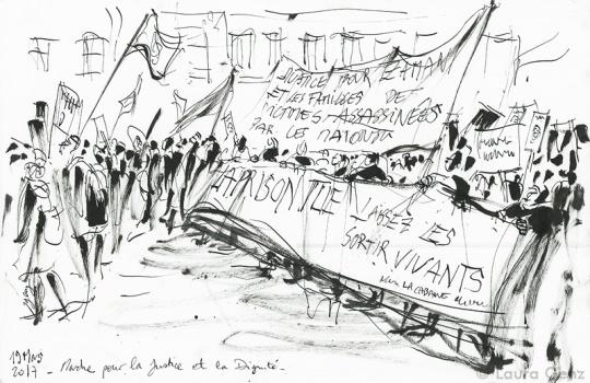La prison tue! Laissez-les sortir vivants! Paris, 19 mars 2017 © Laura Genz